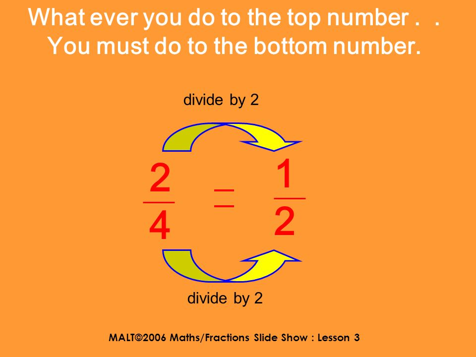 MALT©2006 Maths/Fractions Slide Show : Lesson 3 What ever you do to the top number.. You must do to the bottom number. 1 4 5 20 divide by 5