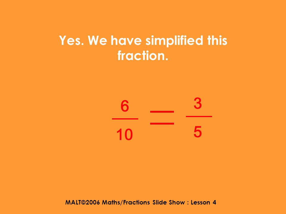 MALT©2006 Maths/Fractions Slide Show : Lesson 4 So lets try dividing. 6 10 Divide by 2 Divide by 2 3 5
