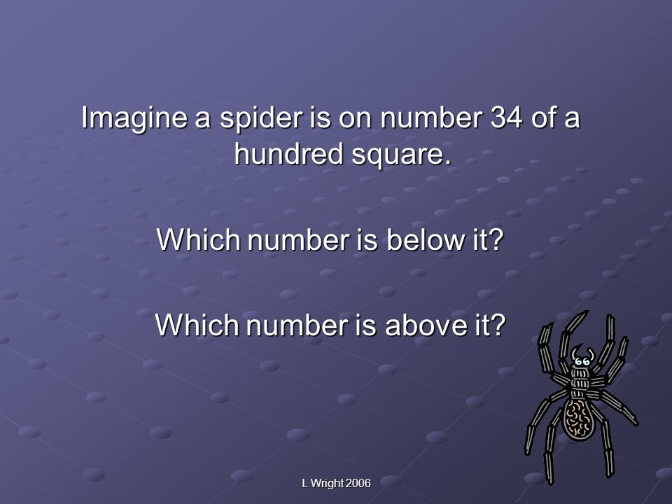 Imagine a spider is on number 34 of a hundred square. Which number is below it? Which number is above it?