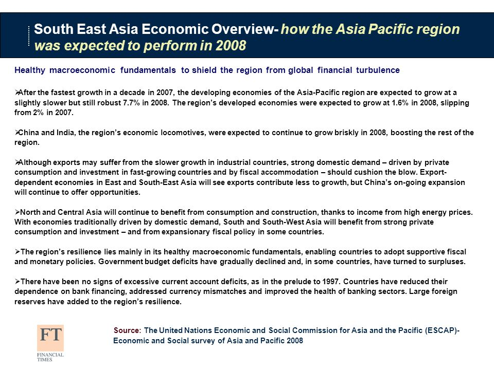 Healthy macroeconomic fundamentals to shield the region from global financial turbulence After the fastest growth in a decade in 2007, the developing economies of the Asia-Pacific region are expected to grow at a slightly slower but still robust 7.7% in 2008.