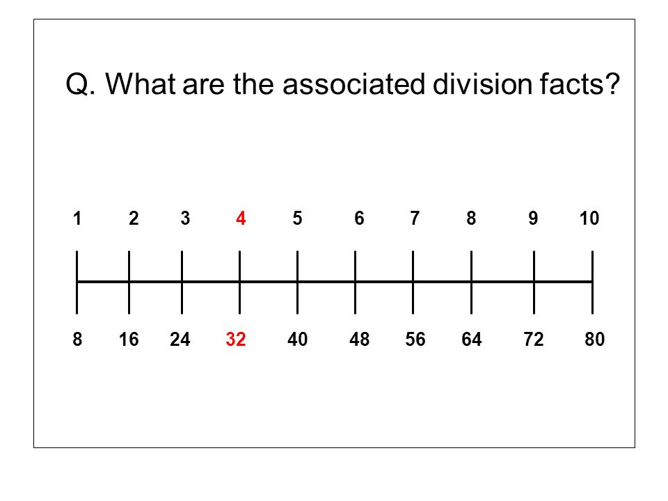 Q. What are the associated division facts? 1 2 3 4 5 6 7 8 9 10 8 16 24 32 40 48 56 64 72 80
