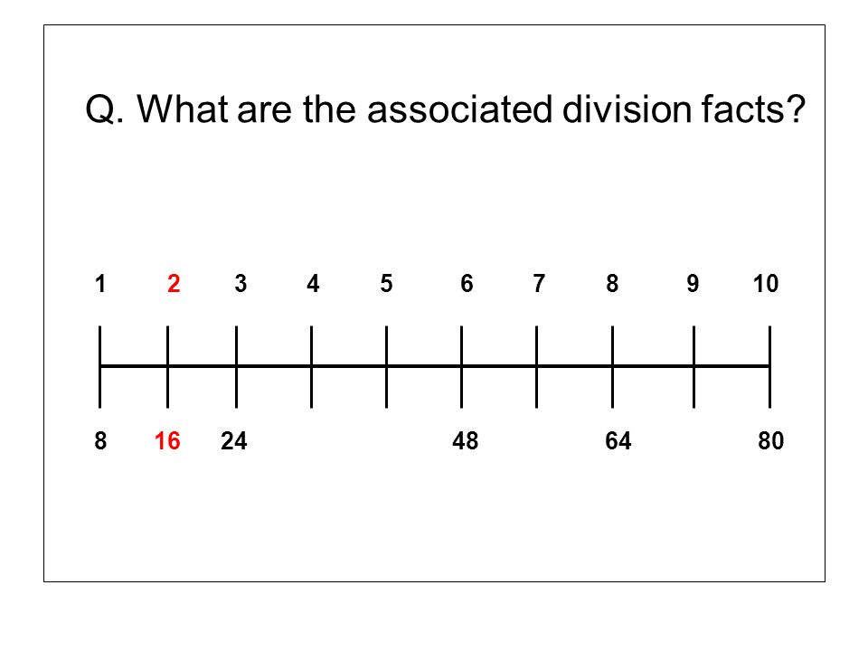Q. What are the associated division facts? 1 2 3 4 5 6 7 8 9 10 8 16 24 48 64 80