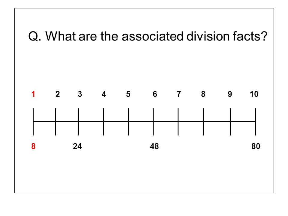 Q. What are the associated division facts? 1 2 3 4 5 6 7 8 9 10 8 24 48 80