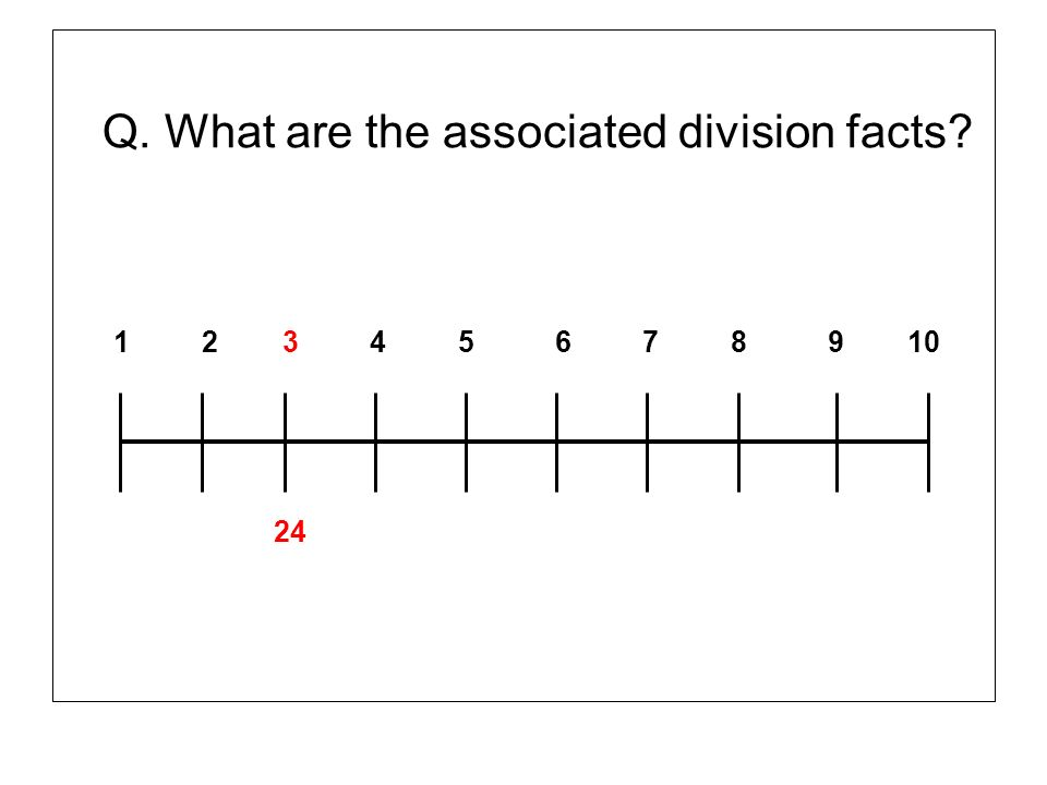 Q. What are the associated division facts? 1 2 3 4 5 6 7 8 9 10 24