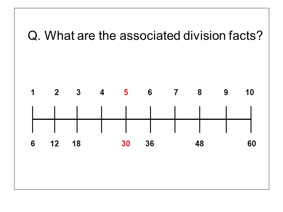 Q. What are the associated division facts? 1 2 3 4 5 6 7 8 9 10 6 12 18 30 36 48 60