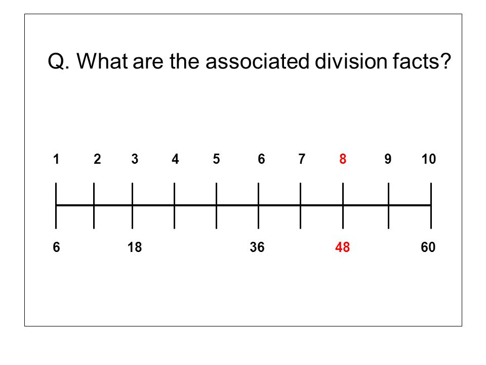 Q. What are the associated division facts? 1 2 3 4 5 6 7 8 9 10 6 18 36 48 60