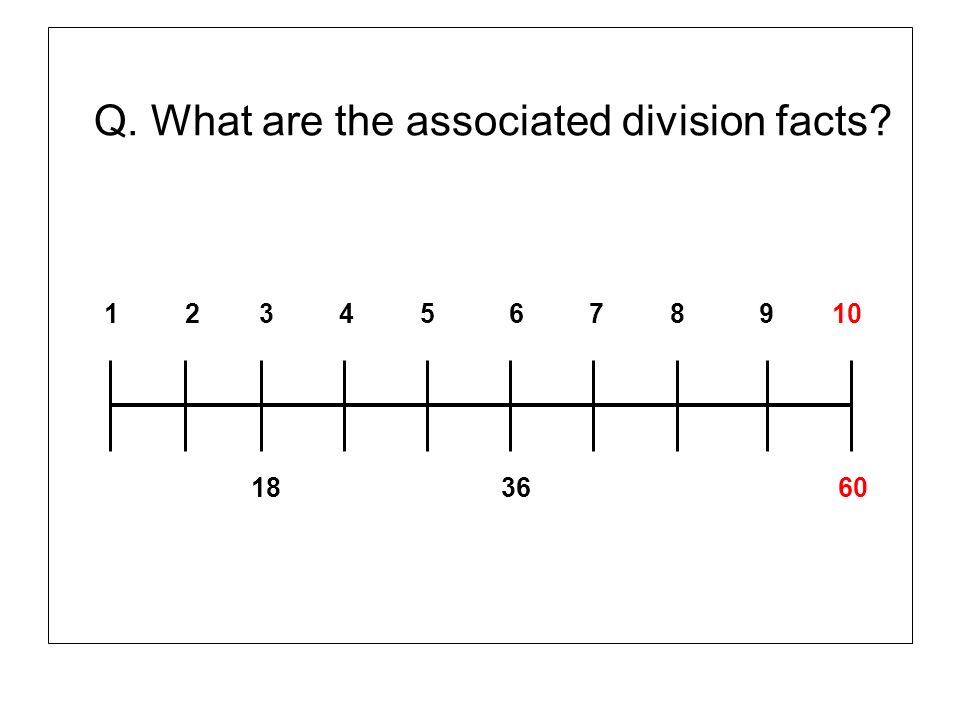 Q. What are the associated division facts? 1 2 3 4 5 6 7 8 9 10 18 36 60