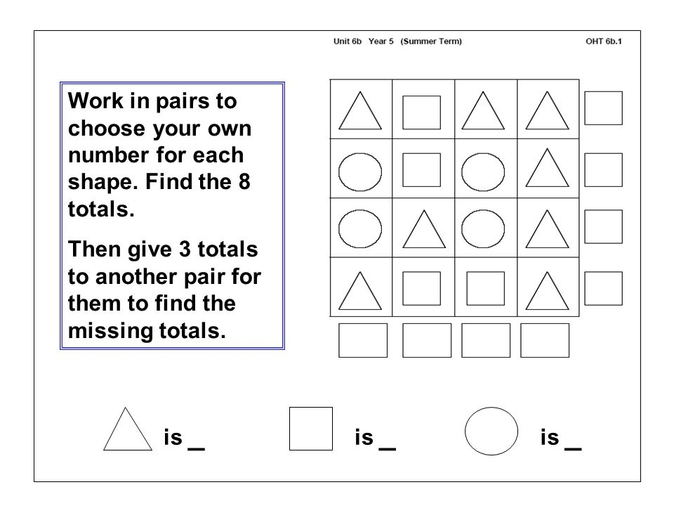is _ Work in pairs to choose your own number for each shape. Find the 8 totals. Then give 3 totals to another pair for them to find the missing totals