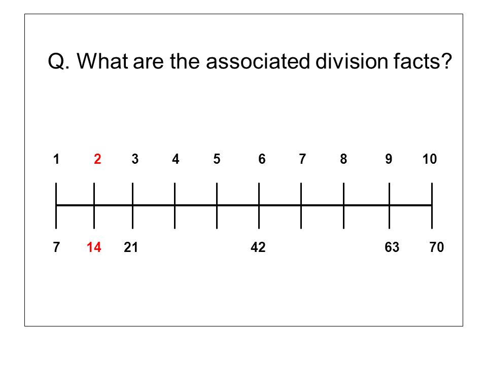 Q. What are the associated division facts? 1 2 3 4 5 6 7 8 9 10 7 14 21 42 63 70