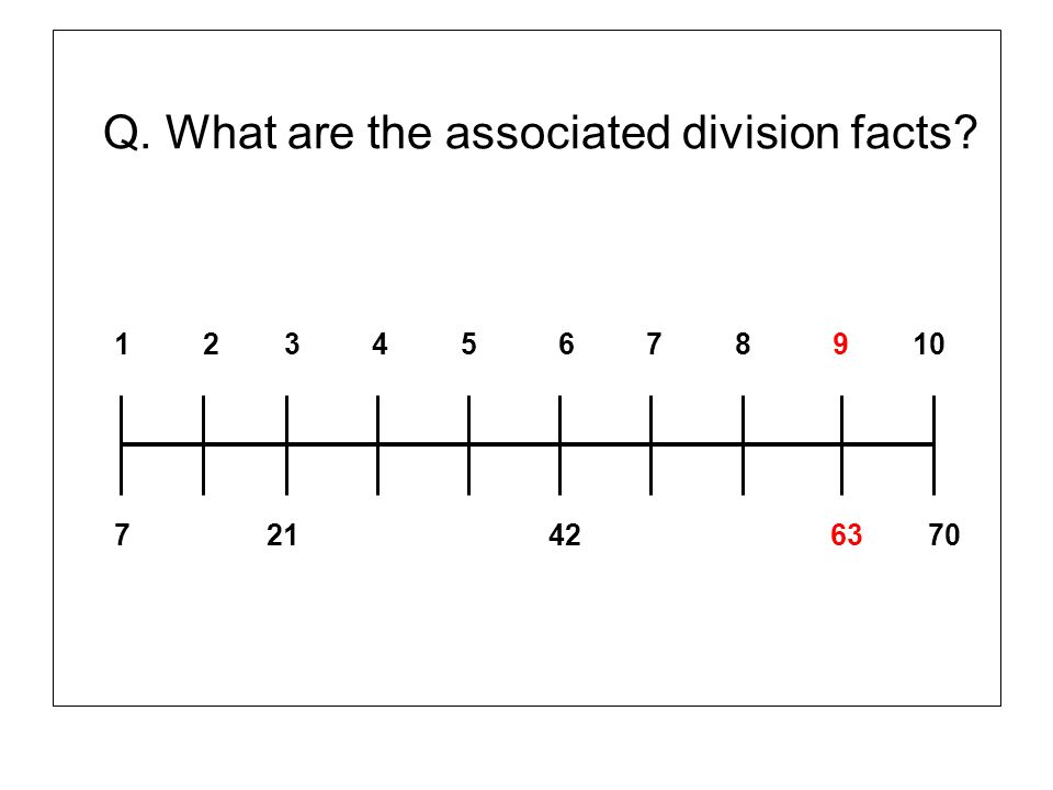 Q. What are the associated division facts? 1 2 3 4 5 6 7 8 9 10 7 21 42 63 70