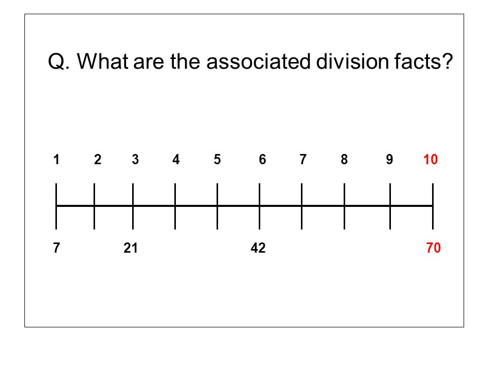 Q. What are the associated division facts? 1 2 3 4 5 6 7 8 9 10 7 21 42 70