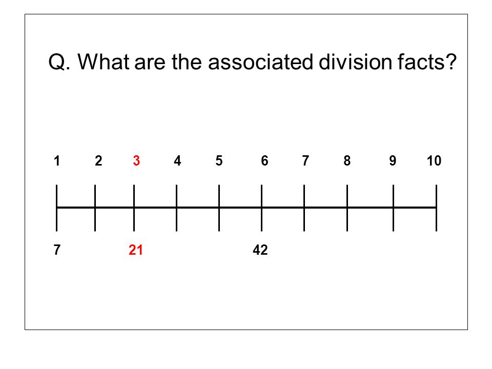 Q. What are the associated division facts? 1 2 3 4 5 6 7 8 9 10 7 21 42