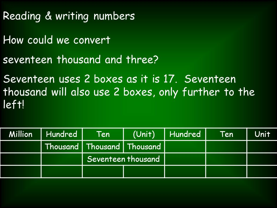 Reading & writing numbers How could we convert seventeen thousand and three? Seventeen uses 2 boxes as it is 17. Seventeen thousand will also use 2 bo