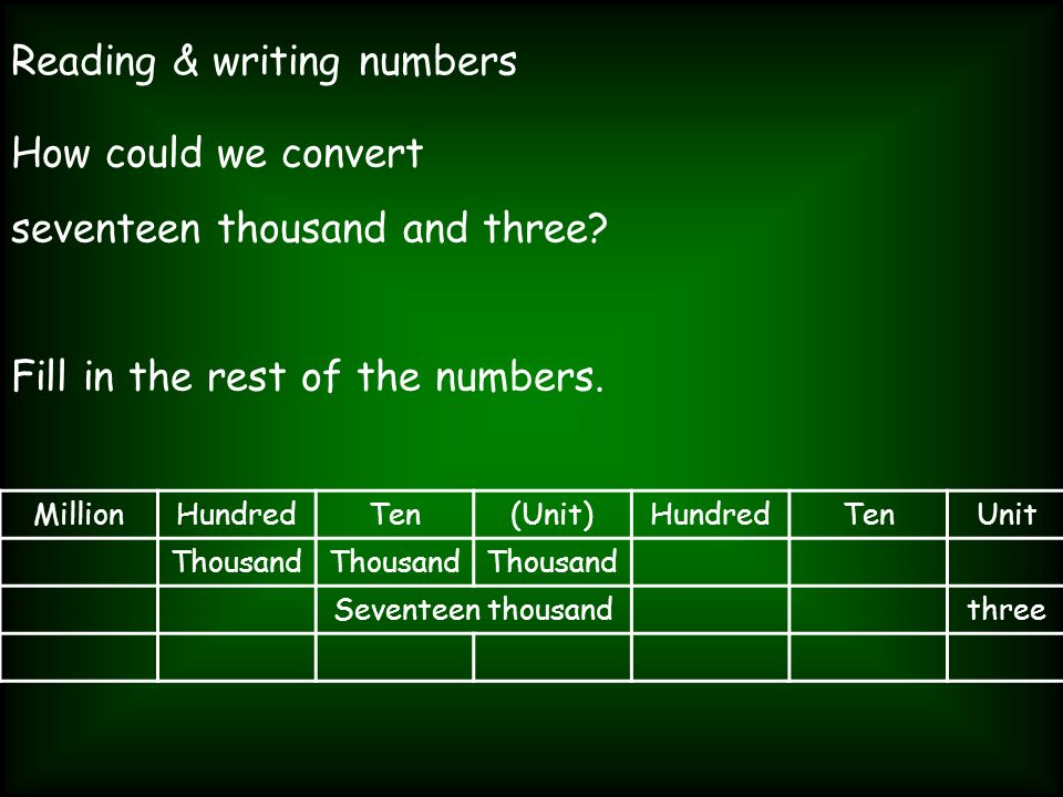 Reading & writing numbers How could we convert seventeen thousand and three? Fill in the rest of the numbers. MillionHundredTen(Unit)HundredTenUnit Th