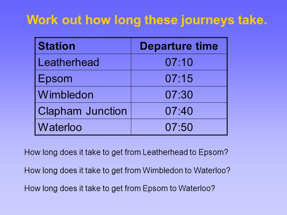 Work out how long these journeys take.