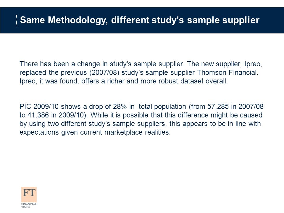 Same Methodology, different studys sample supplier There has been a change in studys sample supplier.
