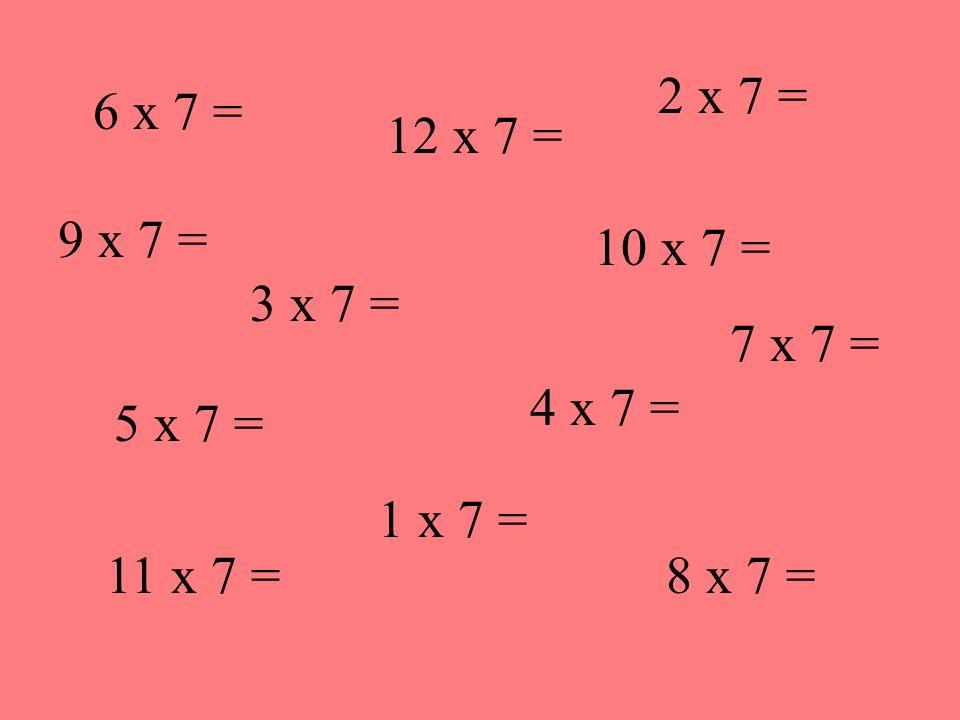 6 x 7 = 3 x 7 = 11 x 7 = 4 x 7 = 10 x 7 = 12 x 7 = 8 x 7 = 5 x 7 = 2 x 7 = 1 x 7 = 9 x 7 = 7 x 7 =