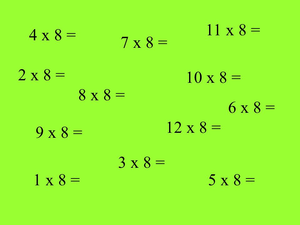 4 x 8 = 8 x 8 = 1 x 8 = 12 x 8 = 10 x 8 = 7 x 8 = 5 x 8 = 9 x 8 = 11 x 8 = 3 x 8 = 2 x 8 = 6 x 8 =