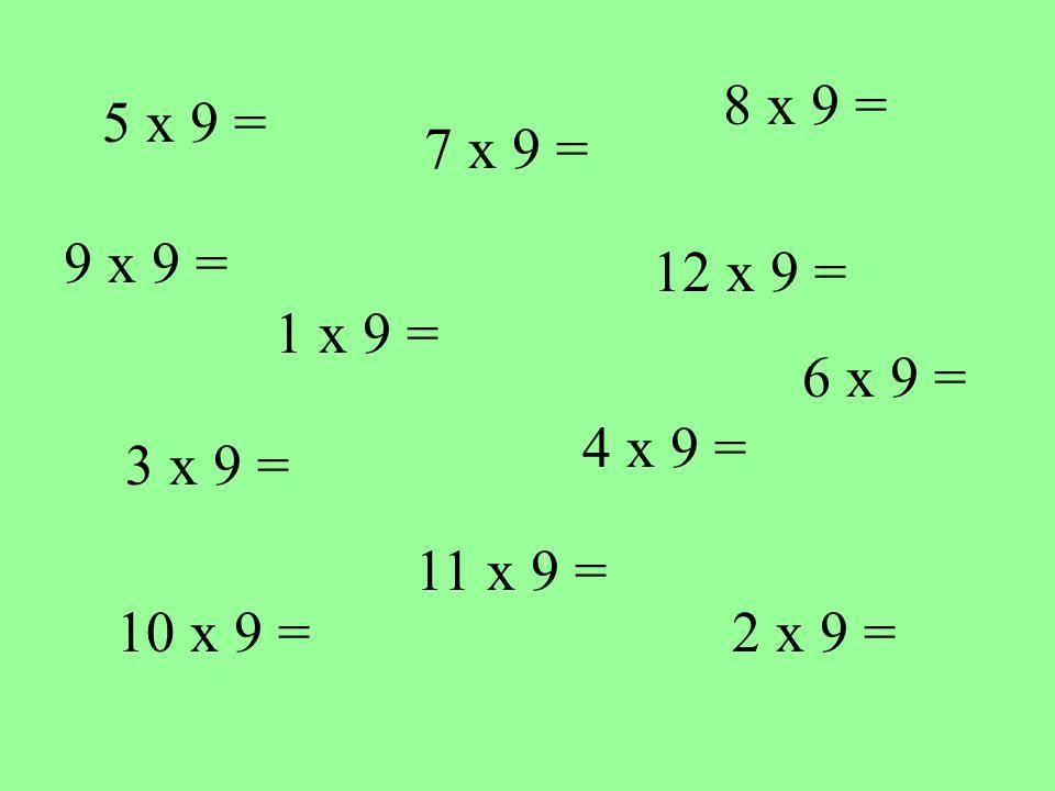 5 x 9 = 1 x 9 = 10 x 9 = 4 x 9 = 12 x 9 = 7 x 9 = 2 x 9 = 3 x 9 = 8 x 9 = 11 x 9 = 9 x 9 = 6 x 9 =