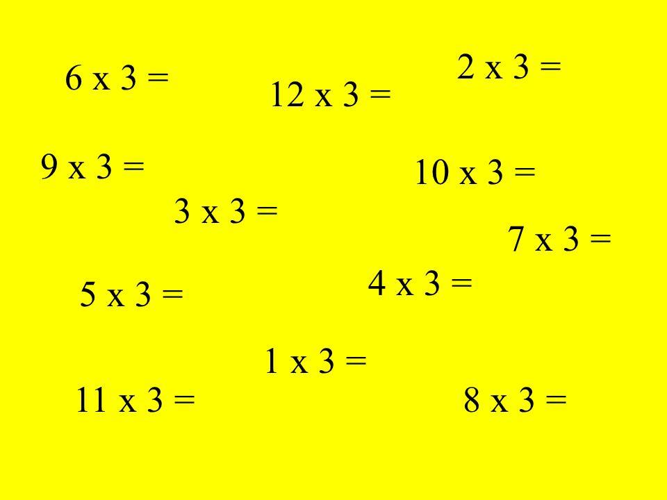 6 x 3 = 3 x 3 = 11 x 3 = 4 x 3 = 10 x 3 = 12 x 3 = 8 x 3 = 5 x 3 = 2 x 3 = 1 x 3 = 9 x 3 = 7 x 3 =