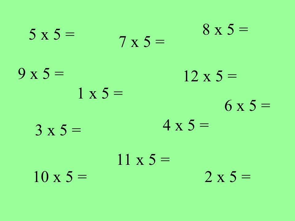 5 x 5 = 1 x 5 = 10 x 5 = 4 x 5 = 12 x 5 = 7 x 5 = 2 x 5 = 3 x 5 = 8 x 5 = 11 x 5 = 9 x 5 = 6 x 5 =