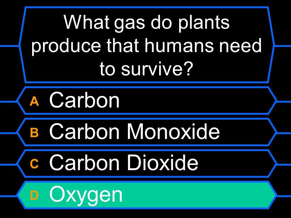 What gas do plants produce that humans need to survive? A Carbon B Carbon Monoxide C Carbon Dioxide D Oxygen