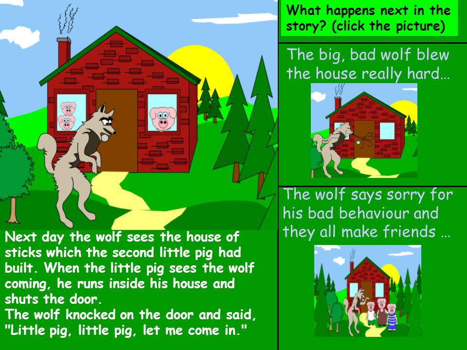 Bad luck… The wolf has tricked the little pigs, and he eats them for dinner. THE END… Back to the story