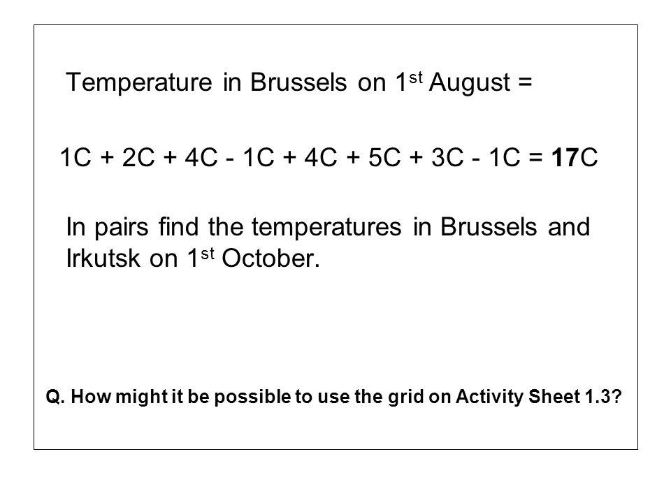 Temperature in Brussels on 1 st August = 1C + 2C + 4C - 1C + 4C + 5C + 3C - 1C = 17C In pairs find the temperatures in Brussels and Irkutsk on 1 st Oc