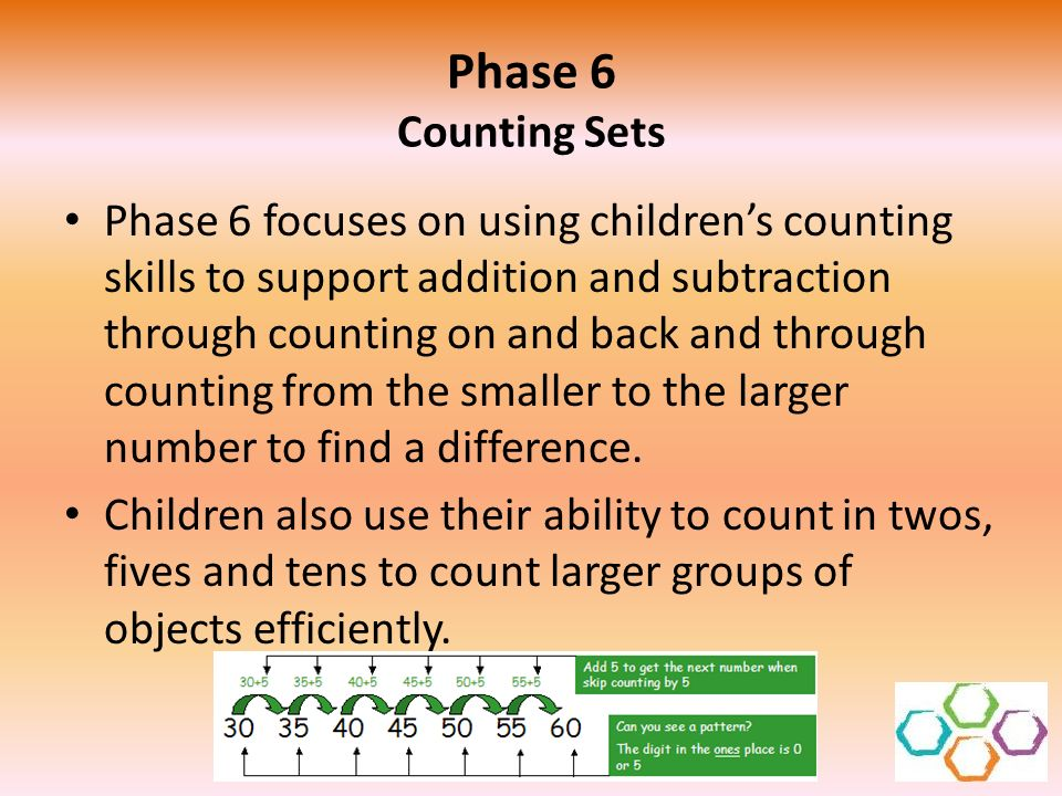 Phase 6 Counting Sets Phase 6 focuses on using childrens counting skills to support addition and subtraction through counting on and back and through