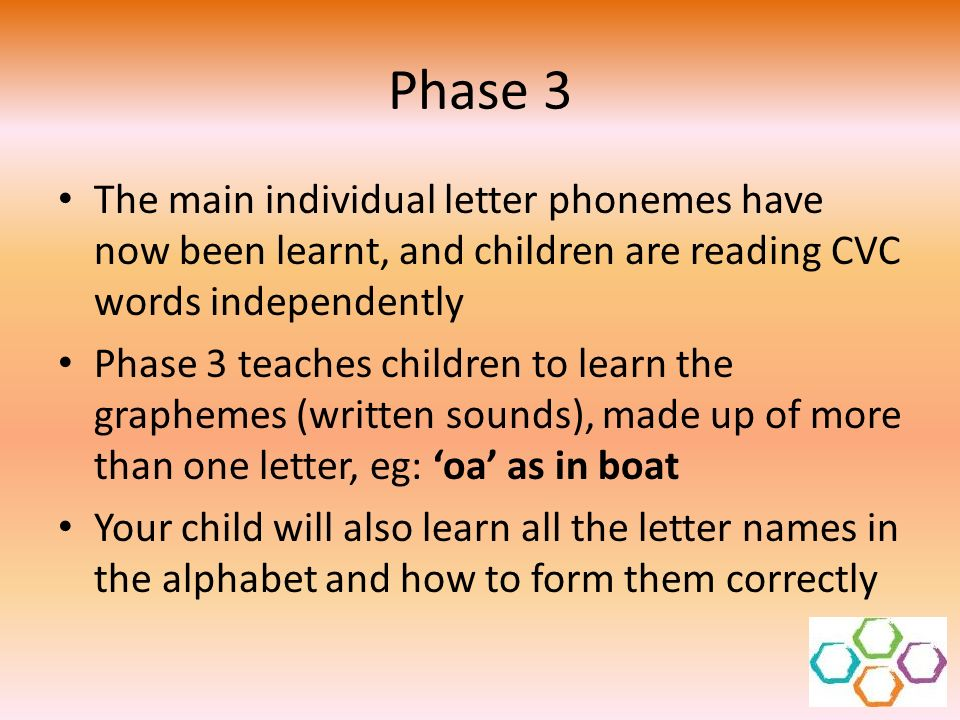 Phase 3 The main individual letter phonemes have now been learnt, and children are reading CVC words independently Phase 3 teaches children to learn t