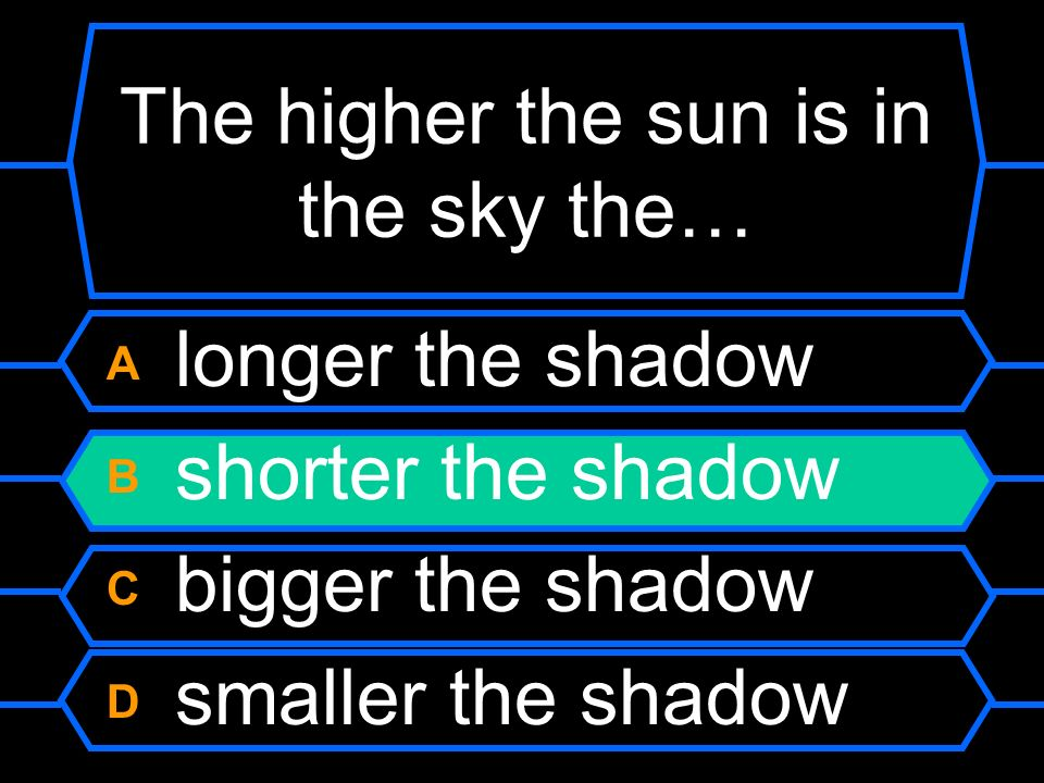 The higher the sun is in the sky the… A longer the shadow B shorter the shadow C bigger the shadow D smaller the shadow