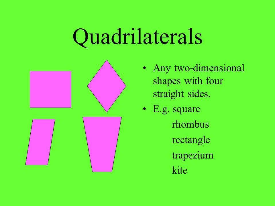 Quadrilaterals Any two-dimensional shapes with four straight sides. E.g. square rhombus rectangle trapezium kite