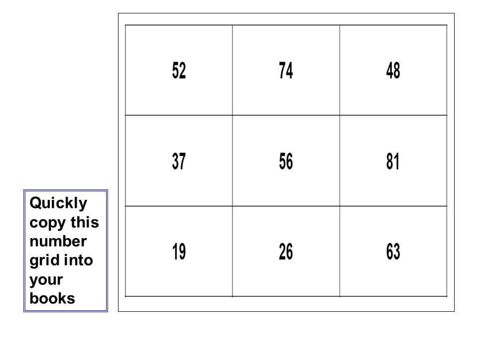 Quickly copy this number grid into your books