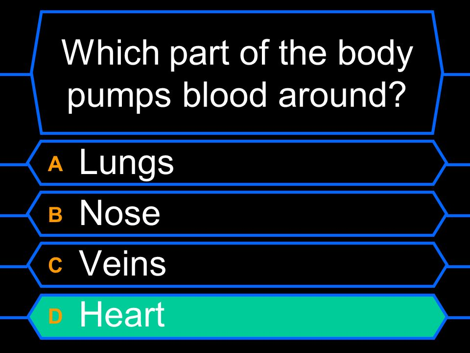 Which part of the body pumps blood around A Lungs B Nose C Veins D Heart