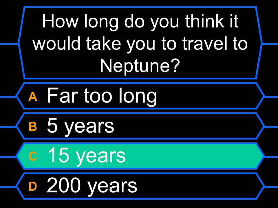 How long do you think it would take you to travel to Neptune? A Far too long B 5 years C 15 years D 200 years