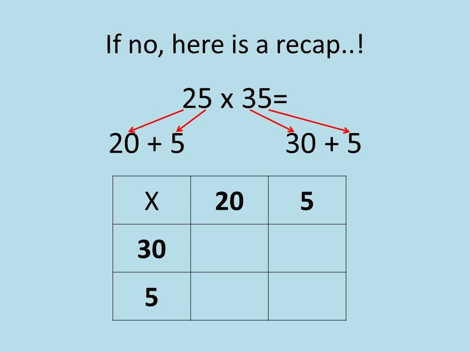 If no, here is a recap..! 25 x 35= 20 + 5 30 + 5 X205 30 5