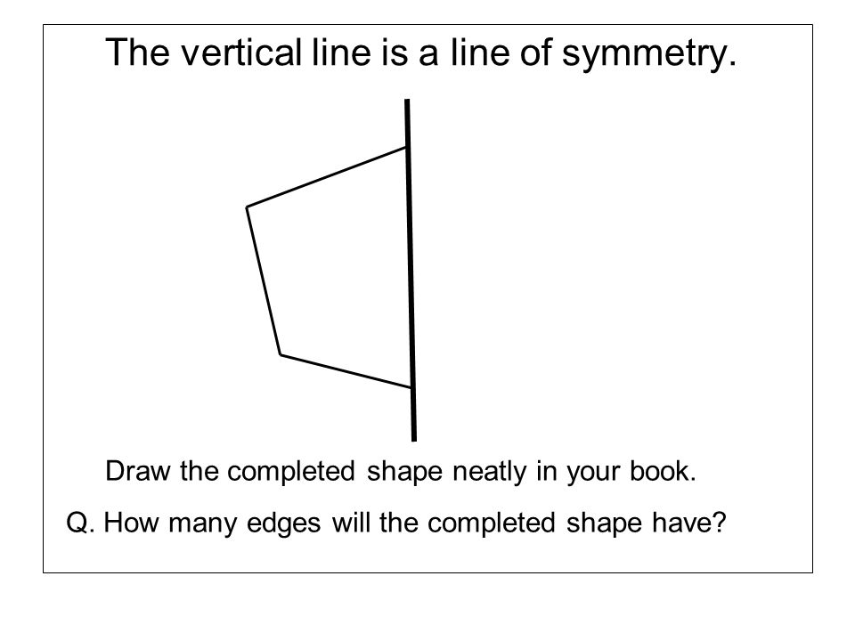 The vertical line is a line of symmetry. Draw the completed shape neatly in your book. Q. How many edges will the completed shape have?