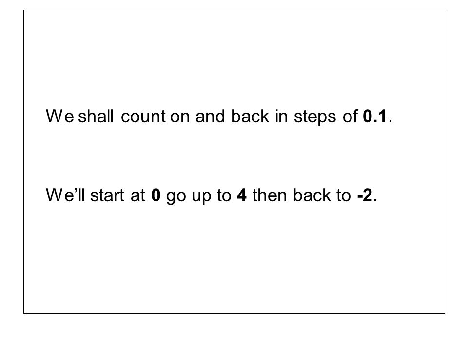We shall count on and back in steps of 0.1. Well start at 0 go up to 4 then back to -2.