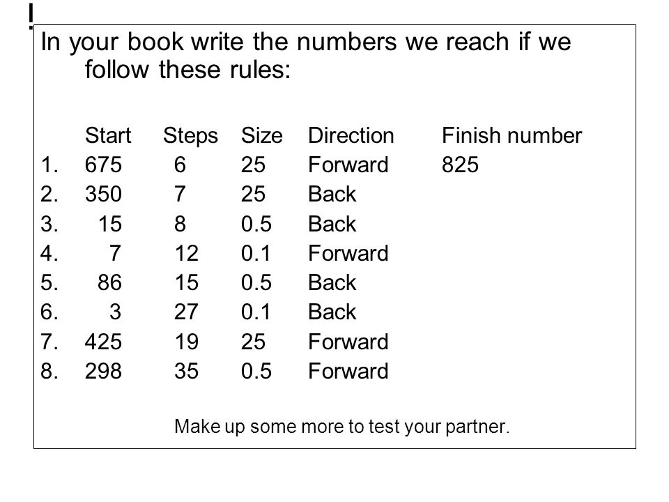 i In your book write the numbers we reach if we follow these rules: Start Steps SizeDirectionFinish number 1.675625Forward825 2.350725Back 3. 1580.5Ba