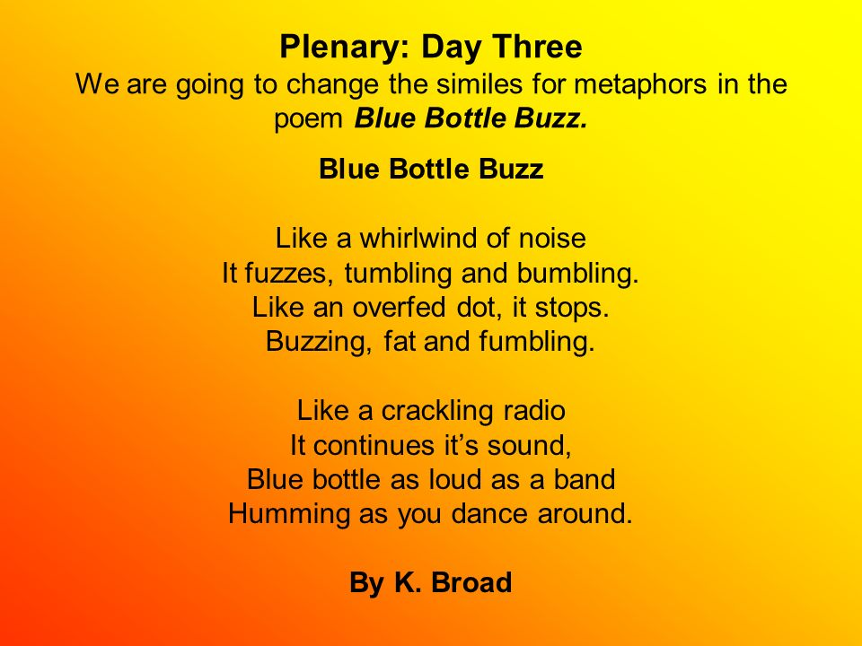 Plenary: Day Three We are going to change the similes for metaphors in the poem Blue Bottle Buzz.