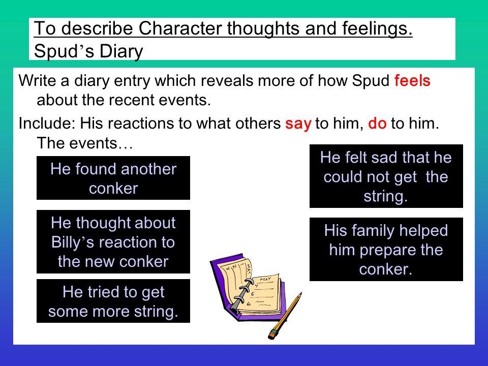 To describe Character thoughts and feelings. Spud s Diary Write a diary entry which reveals more of how Spud feels about the recent events. Include: H
