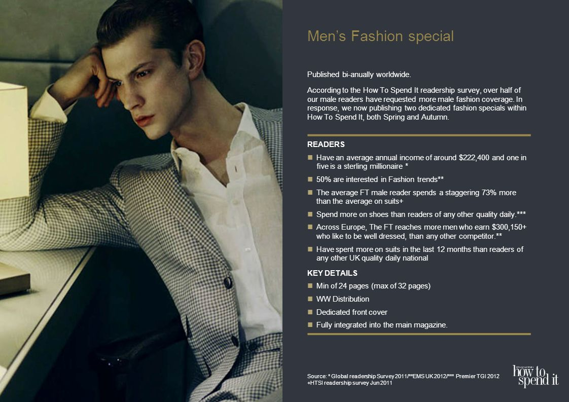 Mens Fashion special Published bi-anually worldwide.