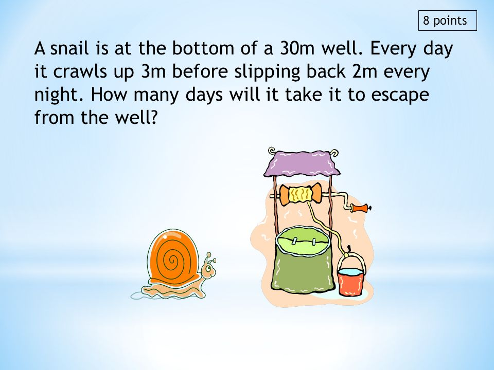 A snail is at the bottom of a 30m well. Every day it crawls up 3m before slipping back 2m every night. How many days will it take it to escape from th