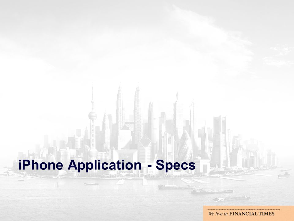 iPhone Application - Specs