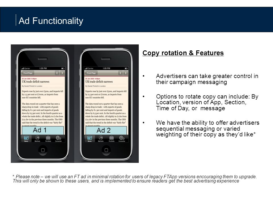 Copy rotation & Features Advertisers can take greater control in their campaign messaging Options to rotate copy can include: By Location, version of