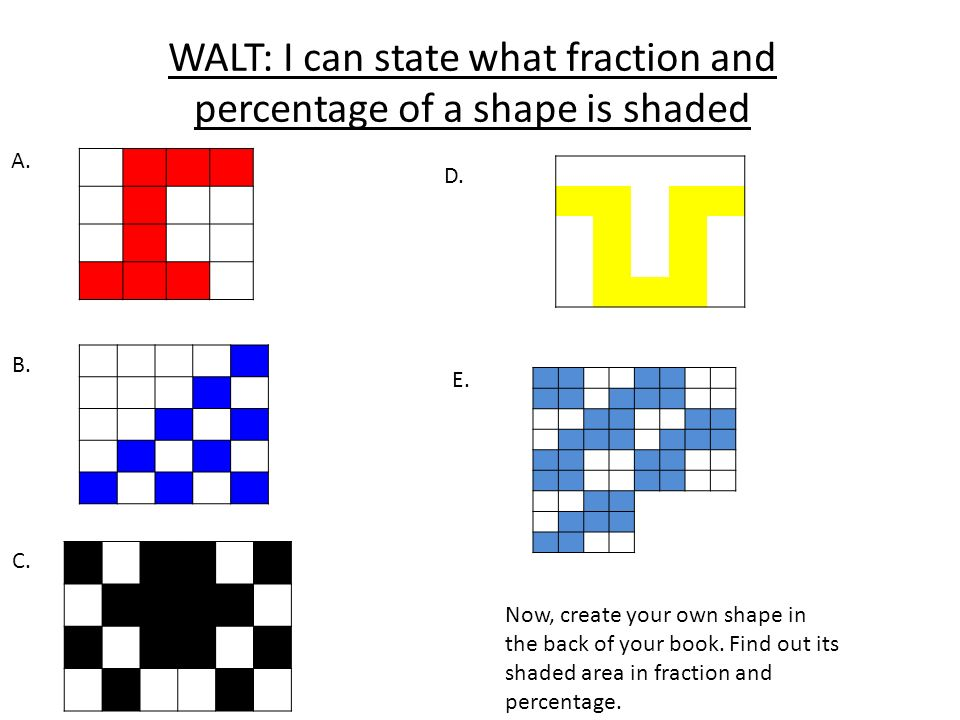 WALT: I can state what fraction and percentage of a shape is shaded A. B. C. D. E. Now, create your own shape in the back of your book. Find out its s