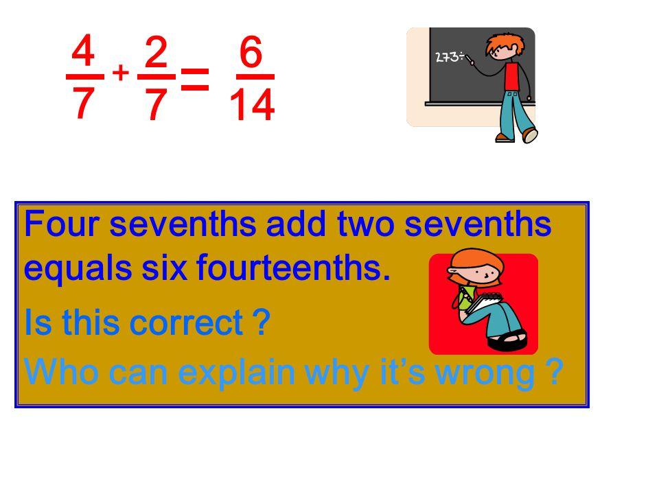 3838 2828 + Three eighths add two eighths equals five eighths. eighths 5858