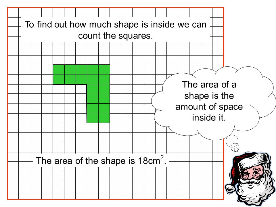 The area of a shape is the amount of space inside it. The area of the shape is 18cm 2. To find out how much shape is inside we can count the squares.