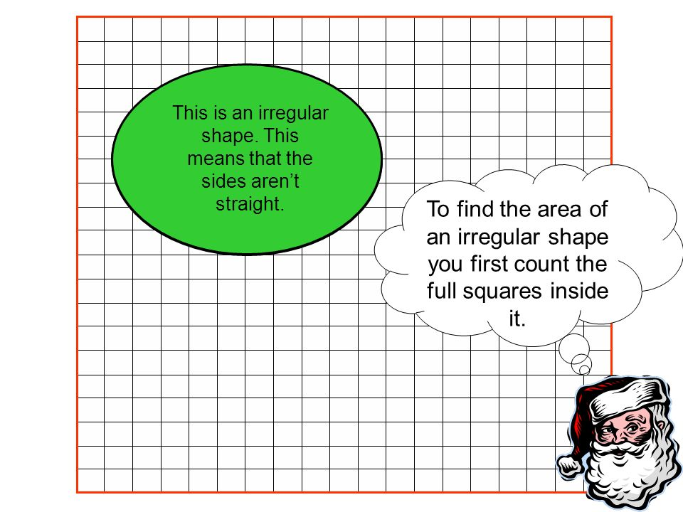 To find the area of an irregular shape you first count the full squares inside it. This is an irregular shape. This means that the sides arent straigh