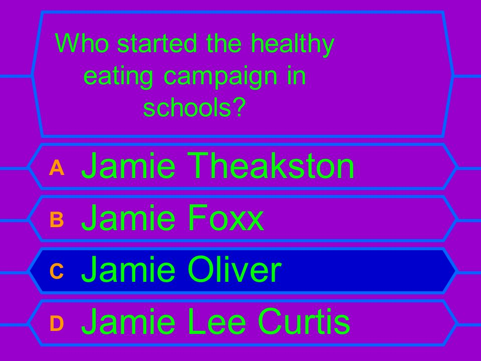 Who started the healthy eating campaign in schools? A Jamie Theakston B Jamie Foxx C Jamie Oliver D Jamie Lee Curtis